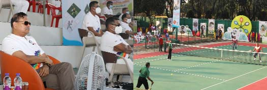 Chief of Army Staff General Aziz Ahmed as the chief guest witnesses the final match of 'Shaheed Lieutenant Jamal Tennis Tournament -2020' arranged marking the 100th birth anniversary of Father of the Nation Bangabandhu Sheikh Mujibur Rahman at Dhaka Cantonment Army Tennis and Squash Complex in the capital on Sunday.