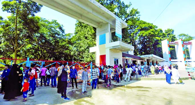 Visitors gathering in front of the National Zoo as it reopens today after long break for coronavirus. This photo was taken from Mirpur in the capital on Saturday.