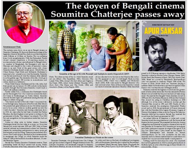 The doyen of Bengali cinema Soumitra Chatterjee passes away