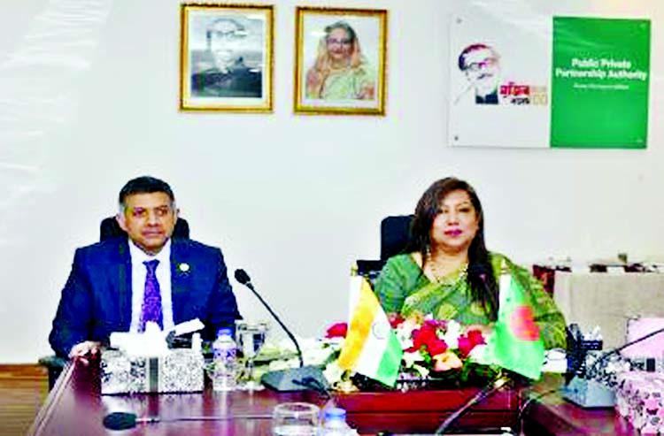 High Commissioner of India to Bangladesh Vikram K Doraiswami pays a courtesy call on CEO of Public-Private Partnership Authority (PPPA) Sultana Afroz in the city recently.