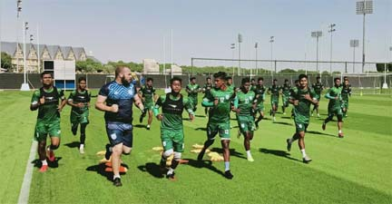 Bangladesh footballers start practice at Doha