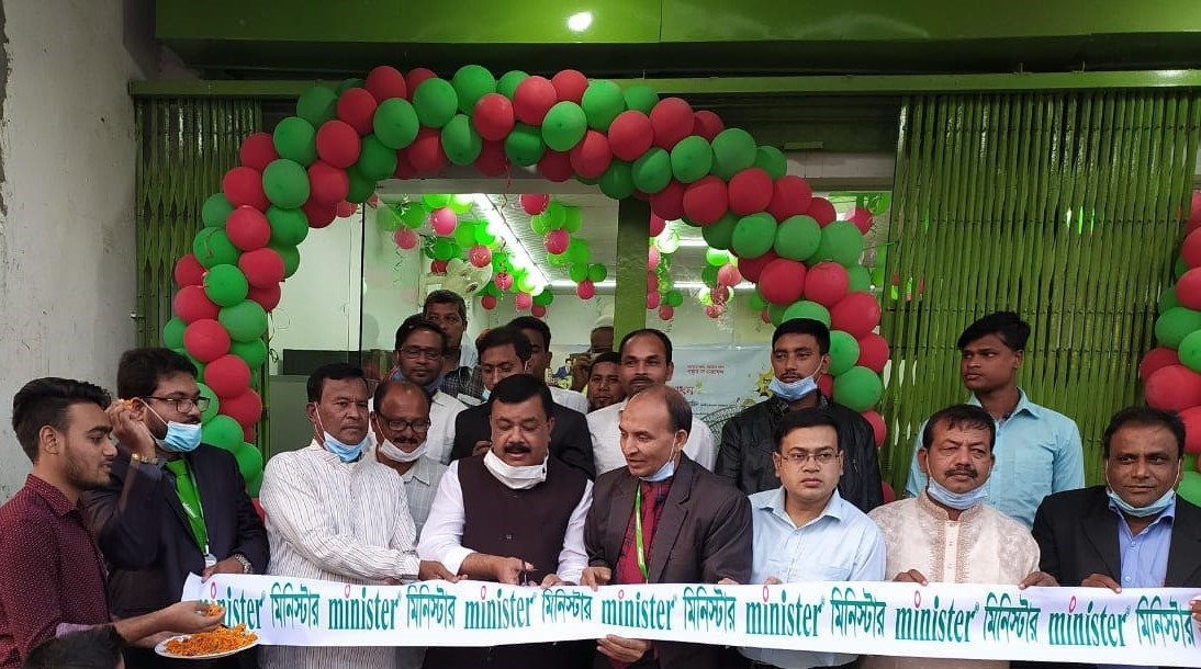 Moksedul Momin, Upazila Chairman of Syedpur, inaugurating a new showroom of Minister Group as chief guest recently. Md. Ashrafuzzaman, General Manager of the company and local businessmen were also present.