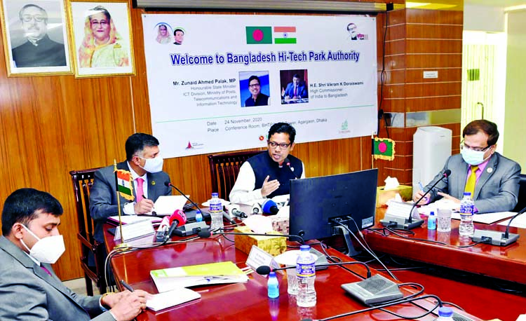 State Minister for ICT Division Zunaid Ahmed Palak and Indian High Commissioner to Bangladesh Vikram Kumar Doraiswami at the bilateral meeting on joint invetment in Information and Technology Sector at ICT Tower in the city on Tuesday.