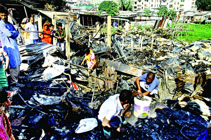 A view of the fire devastated Bawniabadh C Block slum near the Mirpur Kalshi bus stand. The photo was taken on Wednesday.