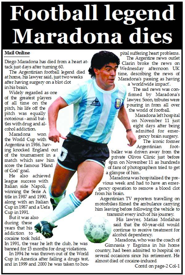Football legend Maradona dies