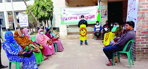 Members of Helath Assistant Association ovserve work abstention at Hatibandha Health Complex premises in Lalmonirhat on Thursday, seeking  upgradation of their posts and wages  with reviewing job rules.