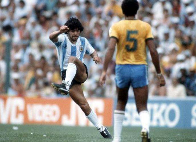 Starting out: Maradona made his World Cup finals debut for Argentina at the 1982 tournament in Spain, but really made his mark four years later...