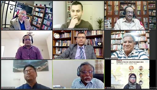 Prof NehginpaoKipgen, O. P. Jindal Global University, India, Brig Gen Sakhawat Hussain, Senior Fellow, SIPG, NSU, Dr ASM Ali Ashraf, Professor, University of Dhaka, Dr. Kawser Ahmed, Executive Director, Conflict and Resilience Research Institute, Canada were present as panelists at the webinar titled