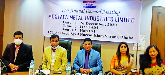 Md. Mamun Munshi, Chairman, Board of Directors of Mostafa Metal Industries Limited, presiding over its 11th Annual General Meeting held at a hotel in the city on Saturday. The AGM approved 5 percent cash dividend for its shareholders. Other directors and shareholders of the company were also present.