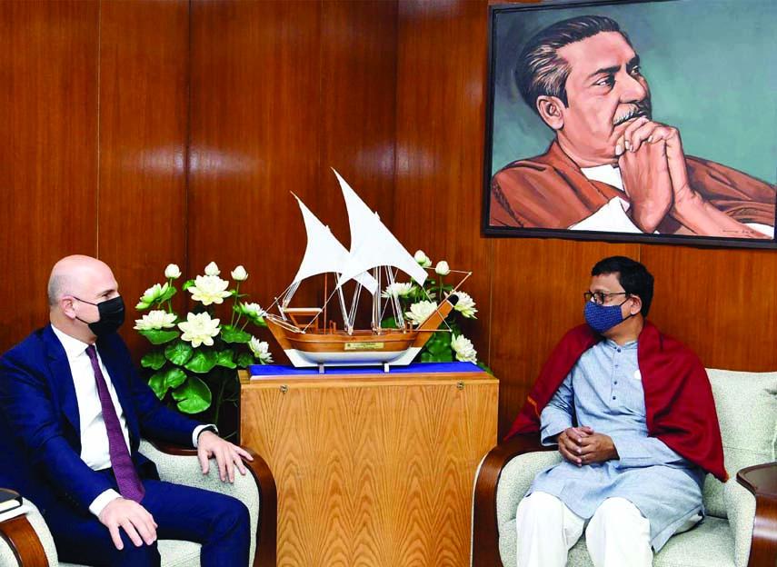 Turkish Ambassador to Bangladesh Mustafa Osman Turan calls on State Minister for Shipping Khalid Mahmud Chowdhury at his Secretariat office on Sunday.