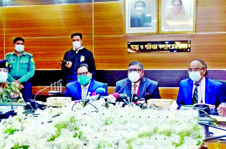 Health and Family Welfare Minister Zahid Maleque, among others, at an emergency meeting at the Secretariat on Monday about India's prohibition on importing coronavirus vaccine.