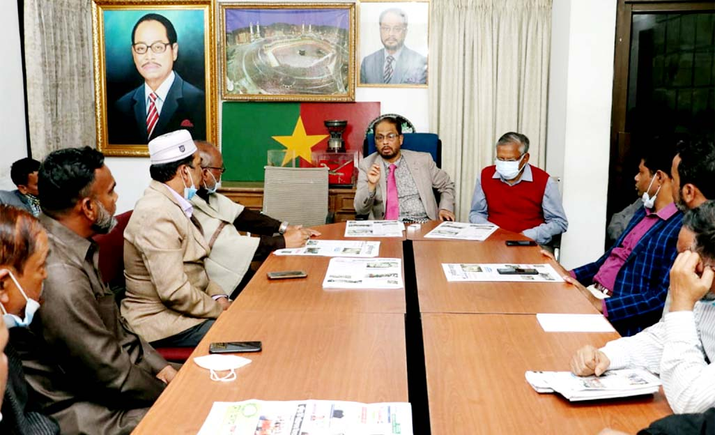 Jatiya Party Chairman Golam Mohammad Kader, MP speaks at view-exchange meeting with Cumilla district and Mahanagar Jatiya Party leaders at the party office in the city's Banani on Tuesday.