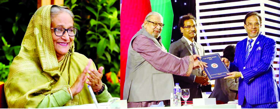 On behalf of Prime Minister Sheikh Hasina, Expatriate Welfare and Overseas Employment Minister Imran Ahmed distributes CIP crest and certificates at Bangabandhu International Conference Center in the city on Wednesday marking 'International Migrants Day-2020'. Prime Minister attends the function virtually.
