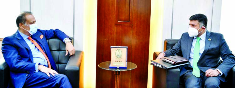 Indian High Commissioner to Bangladesh Vikram Kumar Doraiswami calls on Land Minister Saifuzzaman Chowdhury at the latter's office of the ministry on Thursday.
