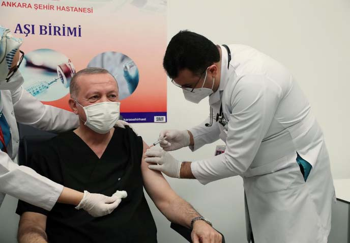 Erdogan receives Covid-19 vaccine