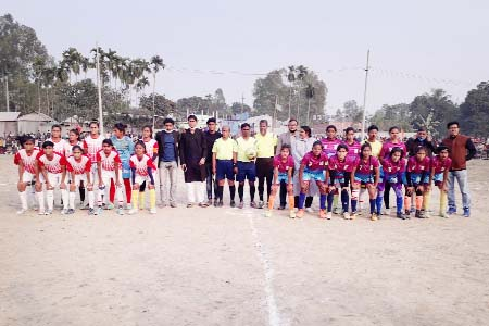 Md Sanowar Hossain, MP, of Tangail-5 with Tangail Pourashava Women's Football team and Tangail Sadar Upazila Women's Football team and President of Santosh Rothkhola Village Development Committee Md Azizul Haque pose for a photo session at Santosh Rothkhola Ground in Tangail on Friday. Tangail Pourashava Women's Football team won the final match by 4-3 goals on penalties on the same day.