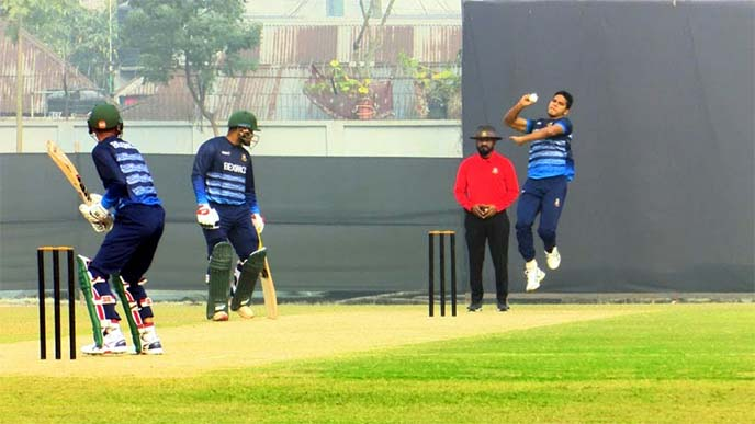 Tamim, Shakib hit form just ahead of WI ODIsTamim XI's Saifuddin bowls during their second practice match against Mahmudullah XI at Bangladesh Krira Shikkha Protishtan (BKSP) on Saturday.