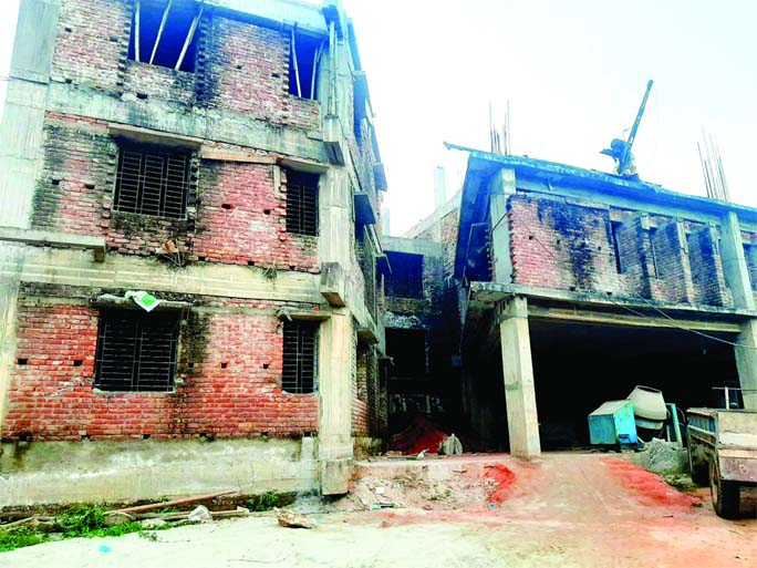 Construction work of Sheikh Hasina Student Hall at Cumilla University is underway.