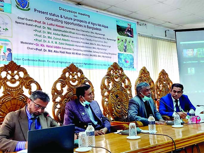 A discussion meeting on Present status & future prospects of Agro-Vet-Aqua consulting opportunities in Bangladesh held at BAU