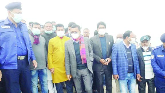 Deputy Minister for Water Resources AKM Enamul Haque Shamim visits the progress of work of Bank Protection Project of Padma River in Naria in Shariatpur on Friday morning.