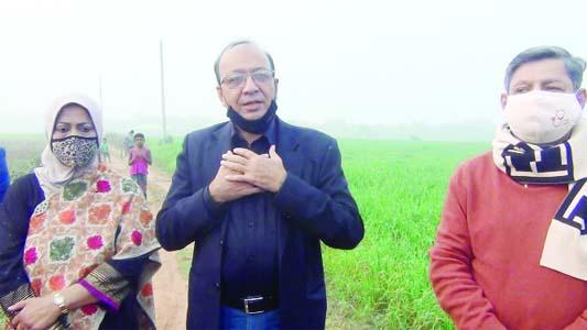 R.A.M. Ubaidul Moktadir Chowdhury, MP, and Chairman of Bangladesh Tourism Board Md. Jabed Ahmed visit the tourist site at Bishnupur Union in Bijoynagar Upazila of Brahmanbaria district on Thursday.