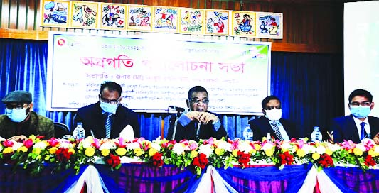 Abdur Rashid Khan, LGED Chief Engineer presides over the day-long review meeting on the progress of LGED's development activities at RDRS Begum Rokeya Auditorium in Rangpur on Friday.