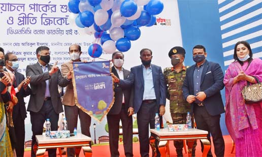 Mayor of the Dhaka North City Corporation (DNCC) Md Atiqul Islam inaugurating the Udayachal Park by releasing the balloons as the chief guest in the city's Mohammadpur on Saturday. After the opening of the Park, a friendly cricket match was held there between DNCC team and Indian High Commission team on the same day. President of the Bangladesh Cricket Board (BCB) Nazmul Hassan Papon, MP, Md Sadek Khan, MP, of Dhaka-13 and Indian High Commissioner to Bangladesh Shri Vikram Kumar Doraiswami were present at the time as special guests. DNCC team defeated Indian High Commission team by 172 runs.