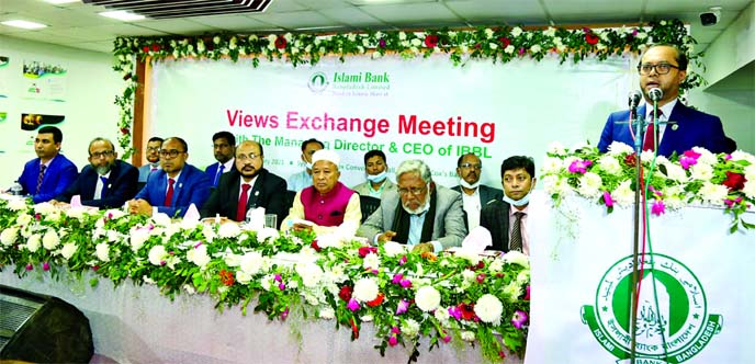Mohammed Monirul Moula, Managing Director and CEO of Islami Bank Bangladesh Limited, addressing at view exchange meeting with the clients organised by Chattogram South Zone at Best Western Heritage in Cox's Bazar recently. JQM Habibullah, Md. Mosharraf Hossain, DMDs, Mohammed Shabbir and G.M Mohd. Gias Uddin Quader, SEVP and other executives of the bank were also present.