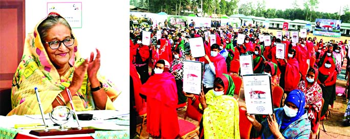 Prime Minister Sheikh Hasina hands over deeds of houses and land among  the landless families countrywide from Ganobhaban virtually on Saturday marking 'Mujib Barsho'.