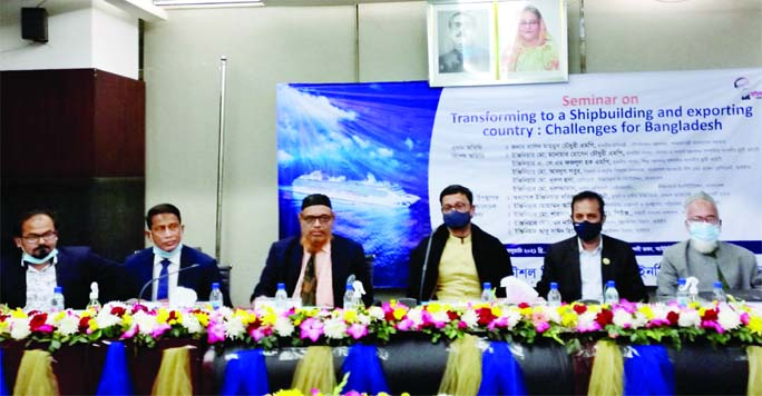 State Minister for Shipping Khalid Mahmud Chowdhury, among others, at a seminar on 'Transforming to a Shipbuilding and Exporting Country: Challenges for Bangladesh' organised by the Shipping Ministry in the auditorium of Engineers' Institute in the city on Saturday.