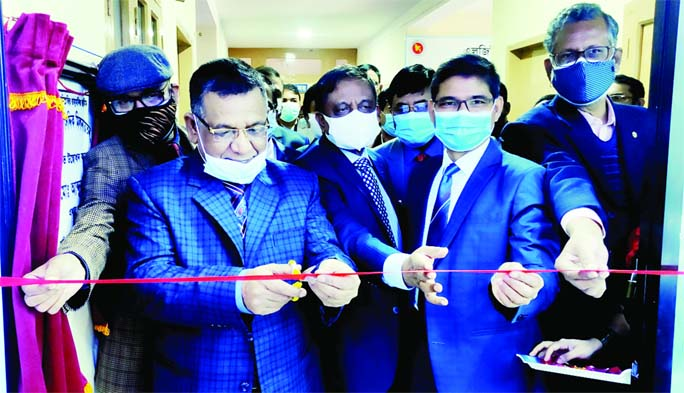 LGED chief engineer Abdur Rashid Khan inaugurates LGED hall in Rangpur on Friday by cutting a ribbon.