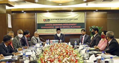 Md. Nazrul Islam Mazumder, Chairman of EXIM Bank Limited, presiding over its 'Annual Business Development Conference 2021' held at its head office in the city Sunday. Dr. Mohammed Haider Ali Miah, Managing Director and CEO and other high officials of the bank were also present.