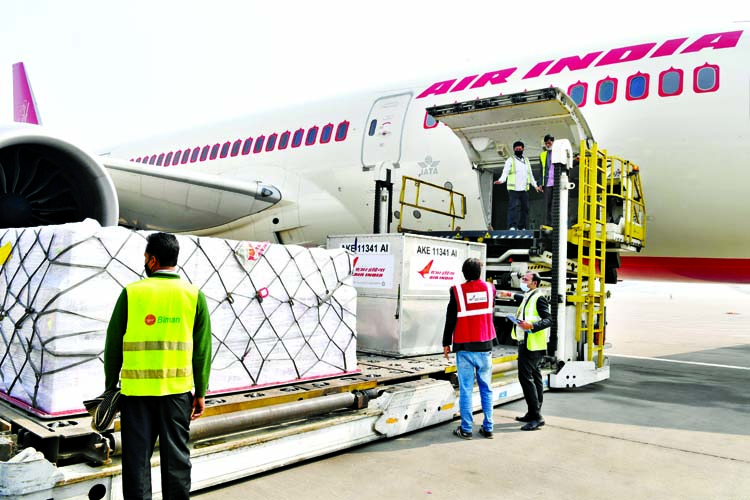 A special flight carrying 5 million Oxford-AstraZeneca 'Covishield' vaccine, produced by the Serum Institute of India (SII), arrives in Dhaka on Monday.