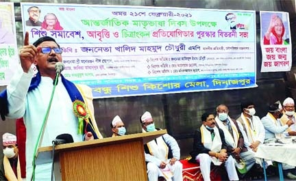 State Minister for Shipping Khalid Mahmud Chowdhury speaks at a function in Dinajpur town on Sunday.