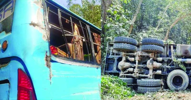 A truck plunges into a roadside ditch after head-on-collision with a bus on Chittagong-Cox's Bazar highway at Chunti Forest Gate in Lohagarah upazila in Chattogram on Monday morning.