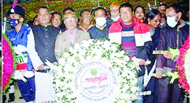 Commerce Minister Tipu Munshi laying foundation   stone   of   Pirgachha   zonal office building of the Barind Multipurpose Development Authority (BMDA) at   Pirgachha upazila   town in Rangpur as   the   chief   guest on Sunday.