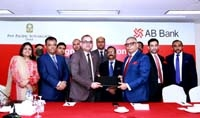 Tarique Afzal, President & Managing Director of AB Bank Limited and Asif Ahmed, Acting General Manager of Pan Pacific Sonargaon Dhaka, exchanging document after signing an agreement at the hotel on Monday. Under the deal, employees of the hotel will enjoy privileged banking services including pre-approved Credit Card, Personal Loan at preferential rate etc. from the bank. Senior executives from both the organizations were present.