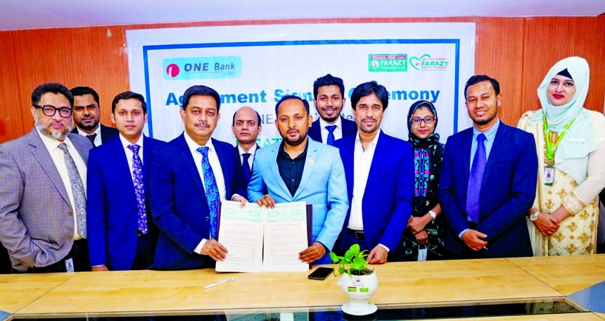 Md. Kamruzzaman, Head of Retail Banking of ONE Bank Limited and Dr. Anower Farazy Emon, Chairman of FARAZY Hospital Limited, exchanging document after signing an agreement at the bank's head office in the city recently. Under the deal, Debit, Credit & Prepaid card holders of the bank with dependents will enjoy up to 30% discount on all Pathological Tests, 25% discount on Imaging Services, 15% discount on Bed charge, up to 50% discount on dental services & exclusive discount on Check-up packages round the year. High officials of both the organizations were present.