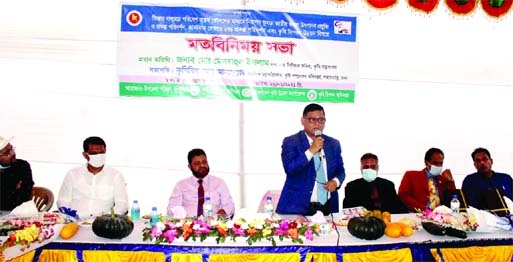 Md. Mezbahul Islam, Senior Secretary, Ministry of Agriculture, speaks at a view exchange meeting at Kaunia Upazila Parishad of Rangpur district on Saturday.