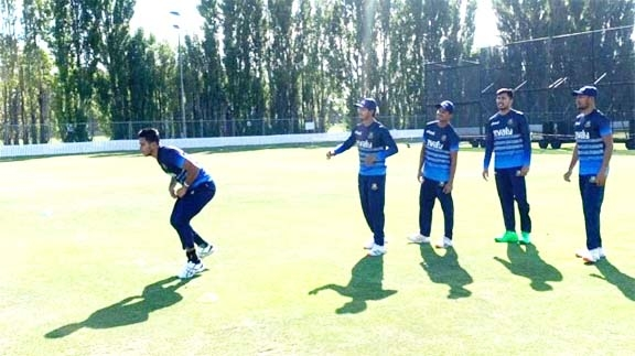 Bangladeshi cricketers take part at practice session