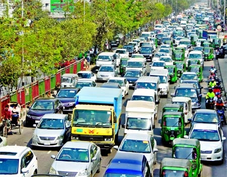Hundreds of vehicles get stuck in a long queue on Tejgaon road in the capital on Thursday amid worsening traffic jam in the city.