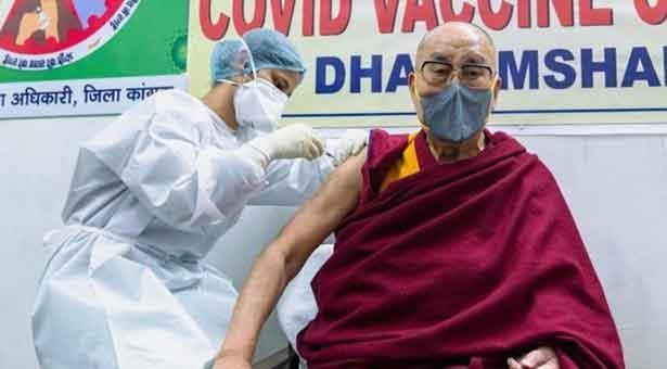 Tibetan spiritual leader Dalai Lama gets vaccine shot