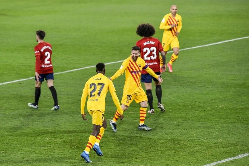 Messi grabs two assists as Barca march on with Osasuna win