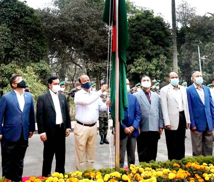 National Flag was hoisted after national anthem on the Defence Ministry premises at Sher-e-Bangla Nagar  in the capital marking the historic 7th March on Sunday.