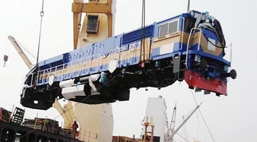 Imported rail engines from USA seen unloading at Chattogram Port terminal  on Saturday.
