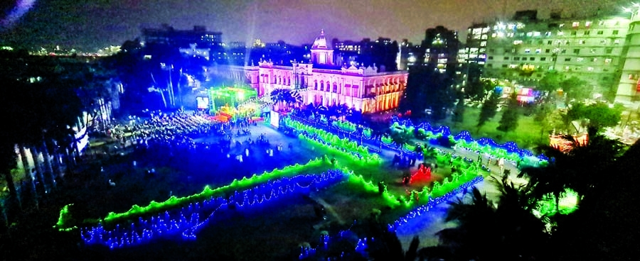 Ahsan Manzil in the capital was illuminated on Sunday on the occasion of historic March 7.