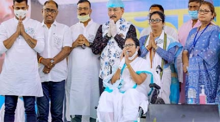 Flanked by TMC leaders and supporters, Mamata led a 8-km-long 'padyatra' from Reyapara Khudiram More to Thakur chowk in her wheelchair recently as she greeted people with folded hands.