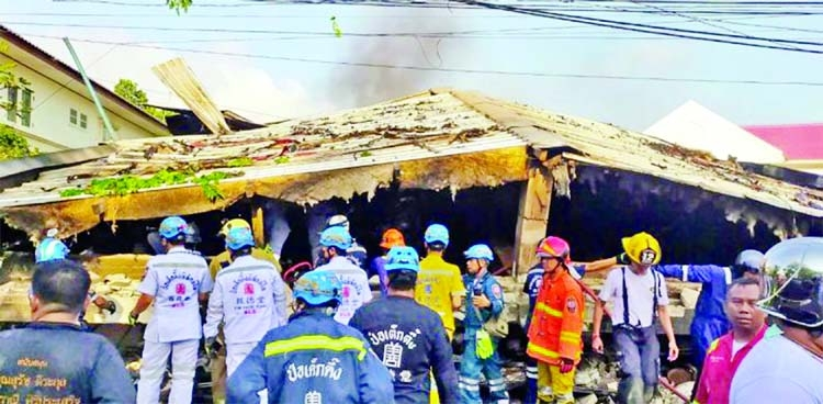 Bangkok home collapses after fire; 3 dead, several trapped