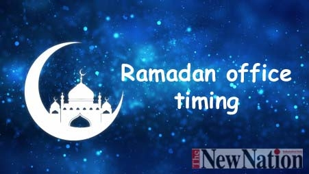 Ramadan office timing from 9am to 3:30pm