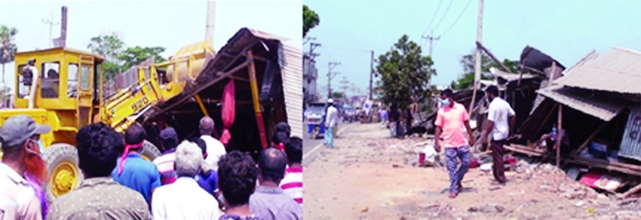 CHANDPUR:  Illegal structures being bulldozed on Thursday.